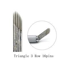 Caneta Microblading Sobrancelha Triangle 3 Row 16 Tattoo Needle Pen Semi Permanent Makeup Blade For Tobori