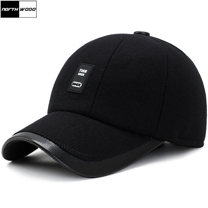 [NORTHWOOD] Gorra Hombre Winter Cap Mens Baseball Cap Earflaps Outdoor Warm Thicken Fitted Cap Brand Snapback Hat For Adult