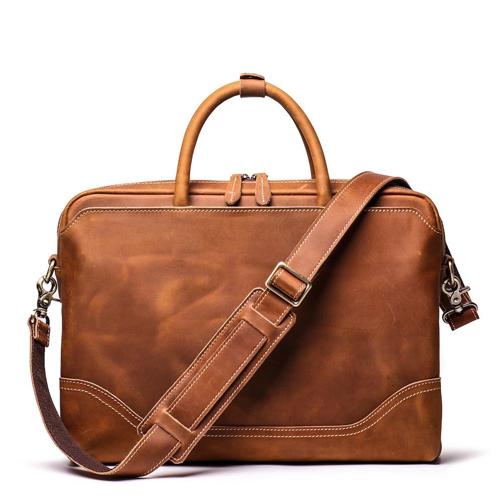 Messenger Bag Men's Crazy Horse Genuine Leather Crossbody Bags Male Briefcase Shoulder Bag For Men Retro Natural Leather Bags