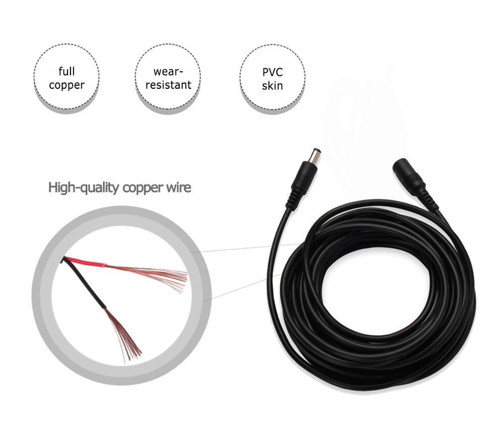 Hot Deals5M 10M Power Extension Cable 5.5mm x 2.1mm DC Standard Cord for CCTV Security Camera