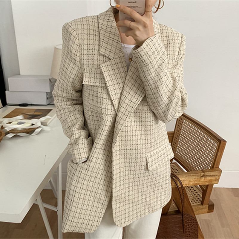 New 2020 Spring Winter Vintage Elegant Women Blazers Plaid Suit Jackets Office Lady Casual Simple Blazer Female Coat Work Wear