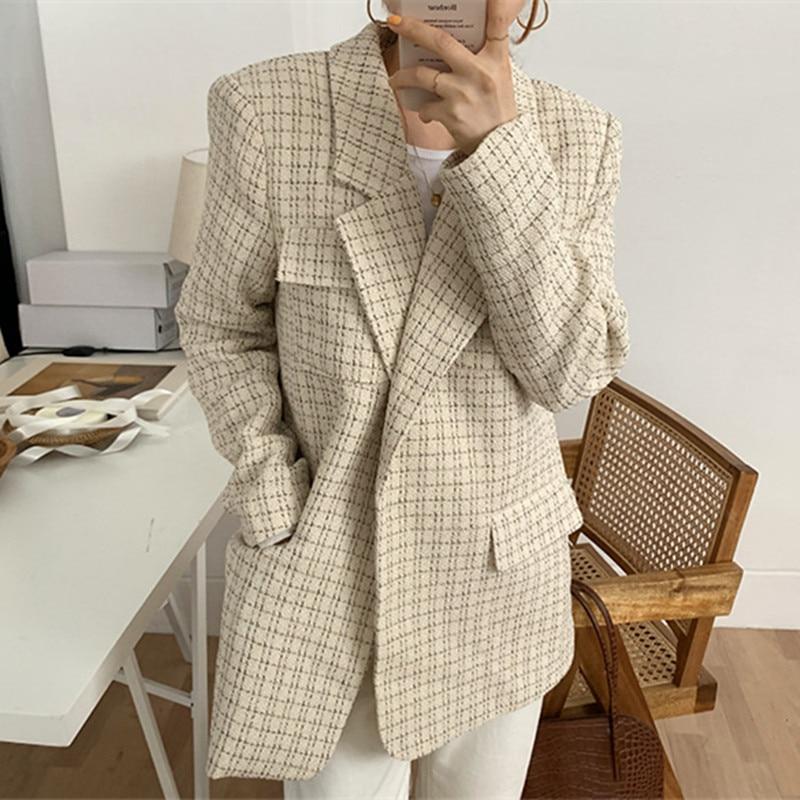New 2020 Spring Winter Vintage Elegant Women Blazers Plaid Suit Jackets Office Lady Casual Simple Blazer Female Coat Work Wear