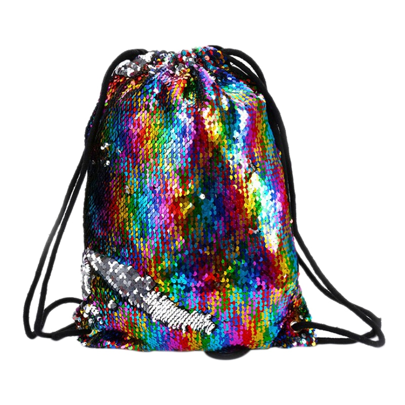 Fashion Reversible Sequin Drawstring Bag Cinch Sack Backpack String Back Pack Gym Tote Bag Rucksack