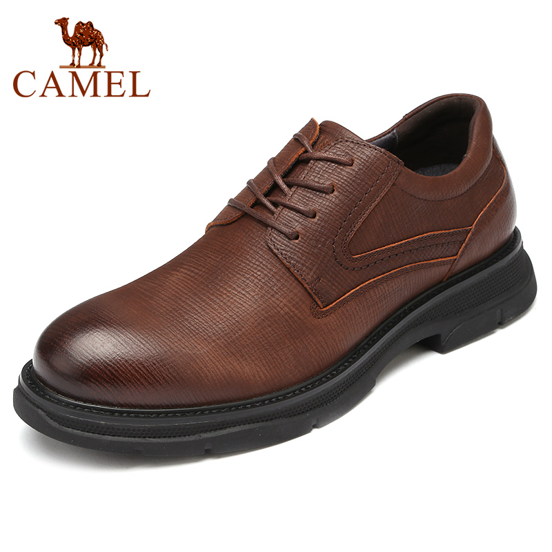 CAMEL Genuine Leather Men's Shoes England New Fashion Business Casual Lightweight Flexible Non-slip Comfortable Dad Sheos Men