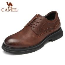 Camelo sapatos masculinos de couro genuíno inglaterra nova moda negócios casual leve flexível antiderrapante confortável pai sheos men
