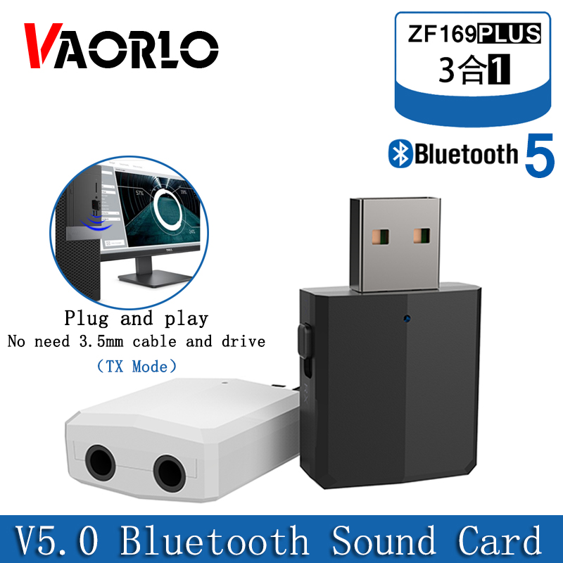 VAORLO 5.0 USB Bluetooth Adapter 3 In 1 Stereo Audio Bluetooth Receiver Transmiiter 3.5MM AUX USB Wireless Dongle For PC TV Car