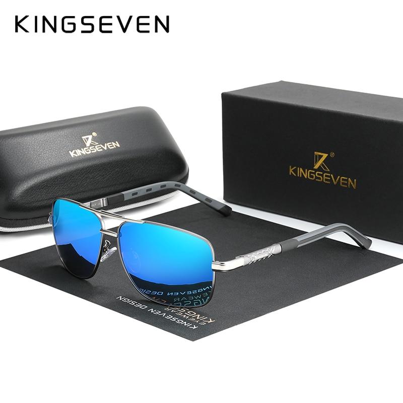 Мужские солнцезащ. Очки-Авиатор KINGSEVEN, черно-серые солнцезащитные очки-авиаторы в алюминиевой оправе с поляризованными линзами, подходящим...