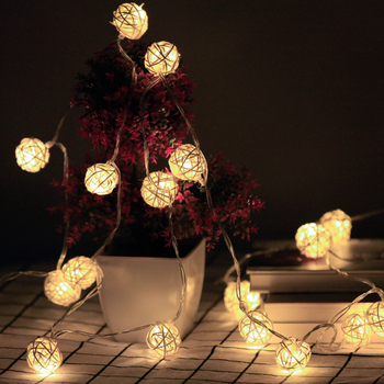 Battery Operated Garland Lights Rattan Ball 2M 5M 10M LED Fairy String Christmas Light Indoor Wedding Party Home Decorative Lamp 5m 20led 10m 35led big ball string light indoor outdoor decorative fairy lighting for christmas trees patio party