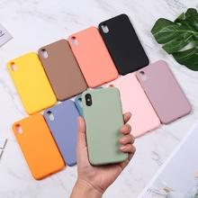Silikonowe Etui do iPhone 11 Pro Max Case miękka pokrywa tylna z tpu matowy kolor Etui na telefony dla iPhone 6 7 8 Plus 6S XS Max XR X Etui tanie tanio ICASSBY Zwykły Pół-owinięte Przypadku Fashion Candy Color Soft TPU Rubber Silicone Back Cover Odporna na brud Anti-knock