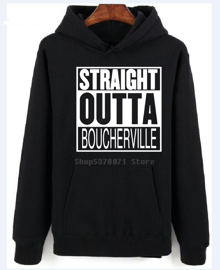 Straight Outta Boucherville Quebec Parody Movie Men's Black Tees Shirt 100% Cotton long Sleeve Summer Hoodies image