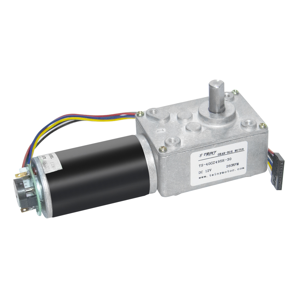 DC 12V 3-200RPM Worm Gear Reducer Motor with Dual Channel Hall Effect Encoder