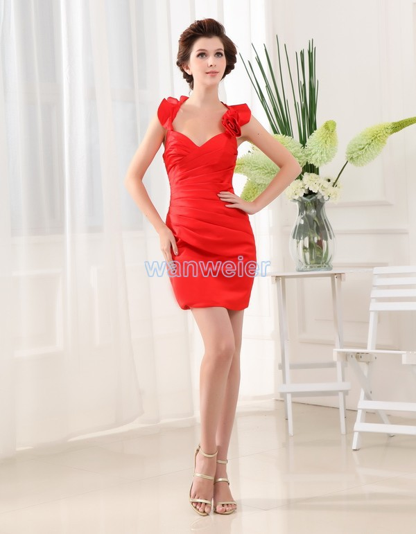 Free Shipping 2015 New Design Hot Sexy Vestidos Formal Brides Short Mini Red Satin Gowns Custom Size Cocktail Party Dresses