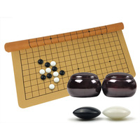 BSTFAMLY Plastic Go Chess Set 361 Pieces For 19 Road PU board Wooden or Bamboo Jar Chinese Old Game of Go Weiqi G20