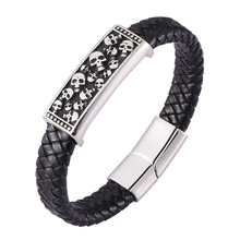 Punk Style Men Skeleton Skull Bracelets Bangles Genuine Leather Hand Bracelet Magnetic buckle Male Jewelry Gift BB0473 недорого