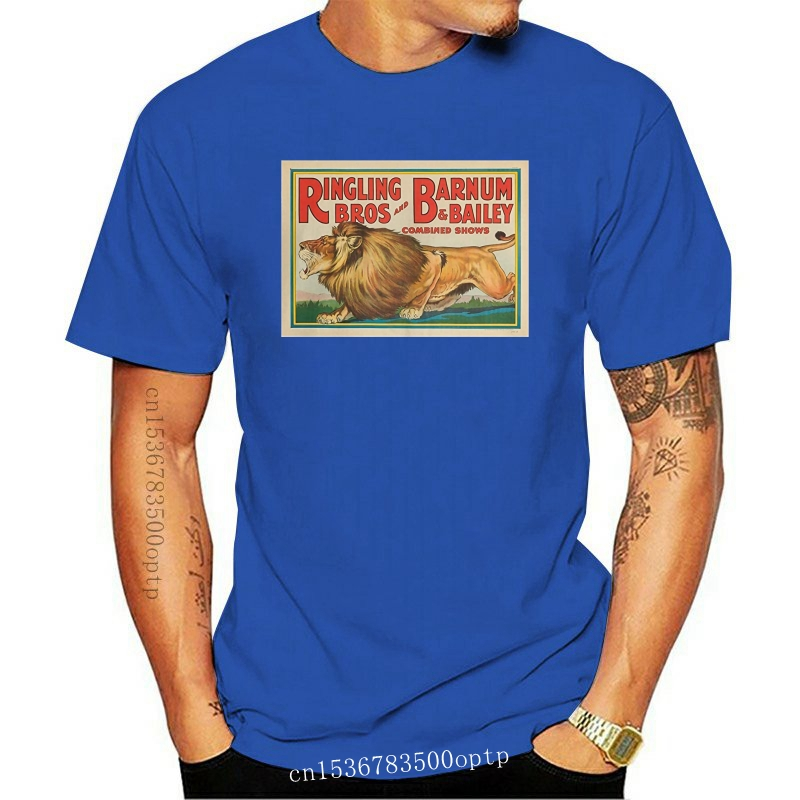 Ringling Bros and Barnum and Bailey - Combined Circus (lion) USA c. 1928 - Vintage Poster 62955 (Black T-Shirt Large)