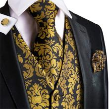 Vest for Men Gold Suit Floral Waistcoat Summer Tuxedo Paisley Tie Set Cufflinks Wedding Business Hi-Tie WJ-0008