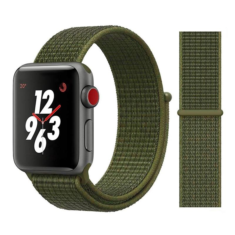 Для наручных часов Apple Watch, версии 3/2/1 38 мм 42 мм нейлон мягкий дышащий нейлон для наручных часов iWatch, сменный ремешок спортивный бесшовный series4/5 40 мм 44 мм - Цвет ремешка: Color30 Olive Green