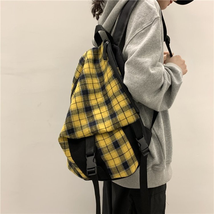 Women Backpack For Teenage Girls 2020 Summer New Female Causal Canvas Plaid Fashion Shoulder Bags For School Students Backpacks