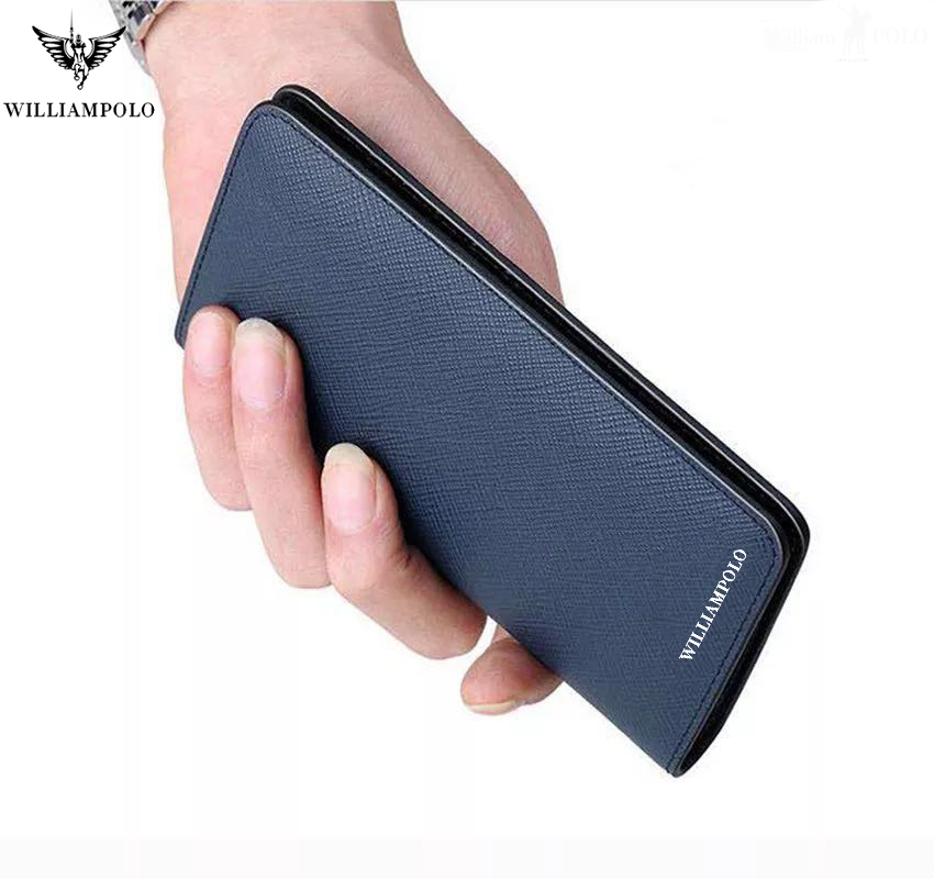 New Mens Wallet Genuine Leather Bifold Short Wallets Card Holder Slots Pocket Ultra Slim Saffiano Multi Card Purse WILLIAMPOLO
