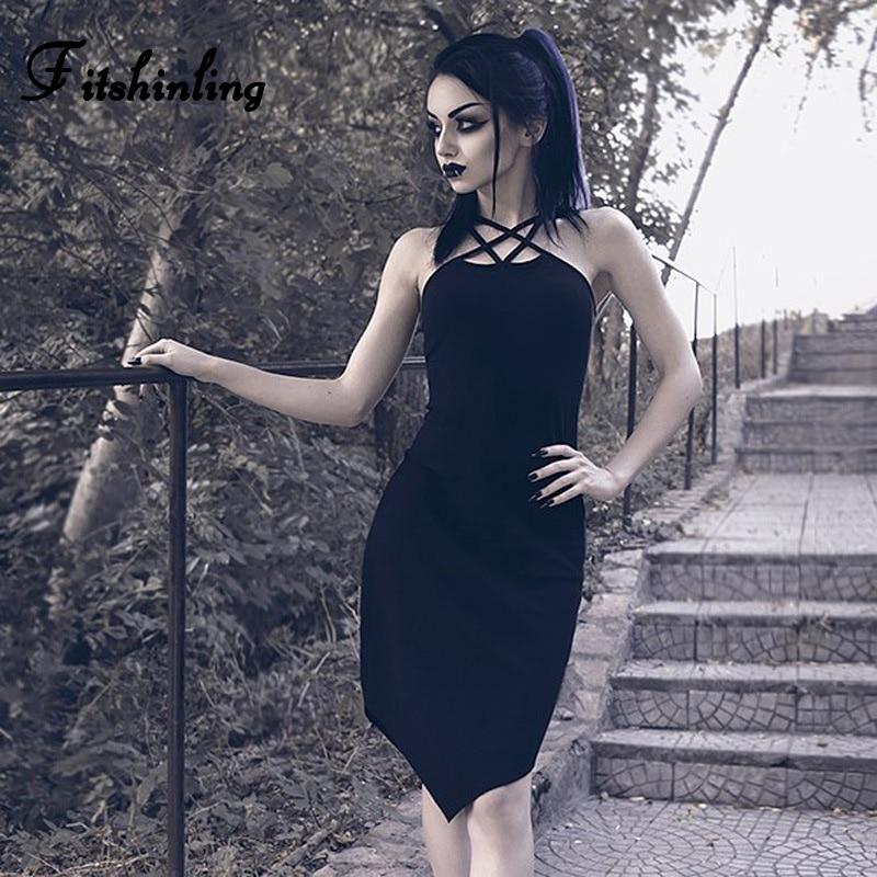 Fitshinling Cross Strap Gothic Dresses For Women Irregular Harajuku Black Dress Ladies Goth Dark Slim Sexy Sleeveless Vestidos