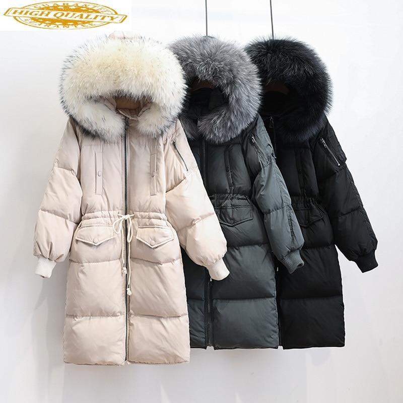 Womens Duck Down Jackets Winter Coats Ladies Real Fur Collar Warm Parkas Long Female Coat Overcoat Chaqueta Mujer KJ477