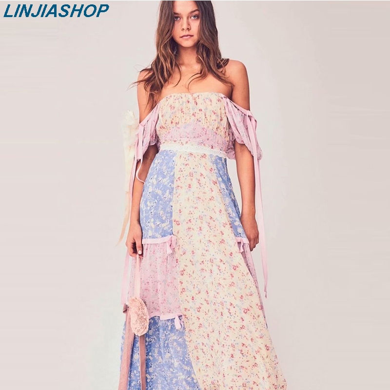 Boho Loveshack Summer Dress Square Neck Ruffles Slim High Waist Silk-like Holiday Ins Bloggers Patchwork Special Interest Dress