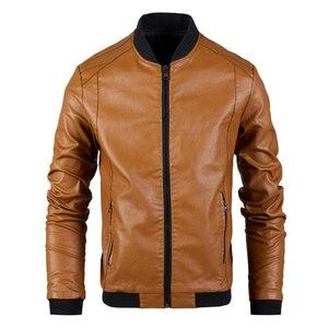 Image 5 - Chaqueta de cuero para hombre, abrigo con cuello de soporte, primavera y otoño, informal, ajustada, gran cremallera de PU, 8XL