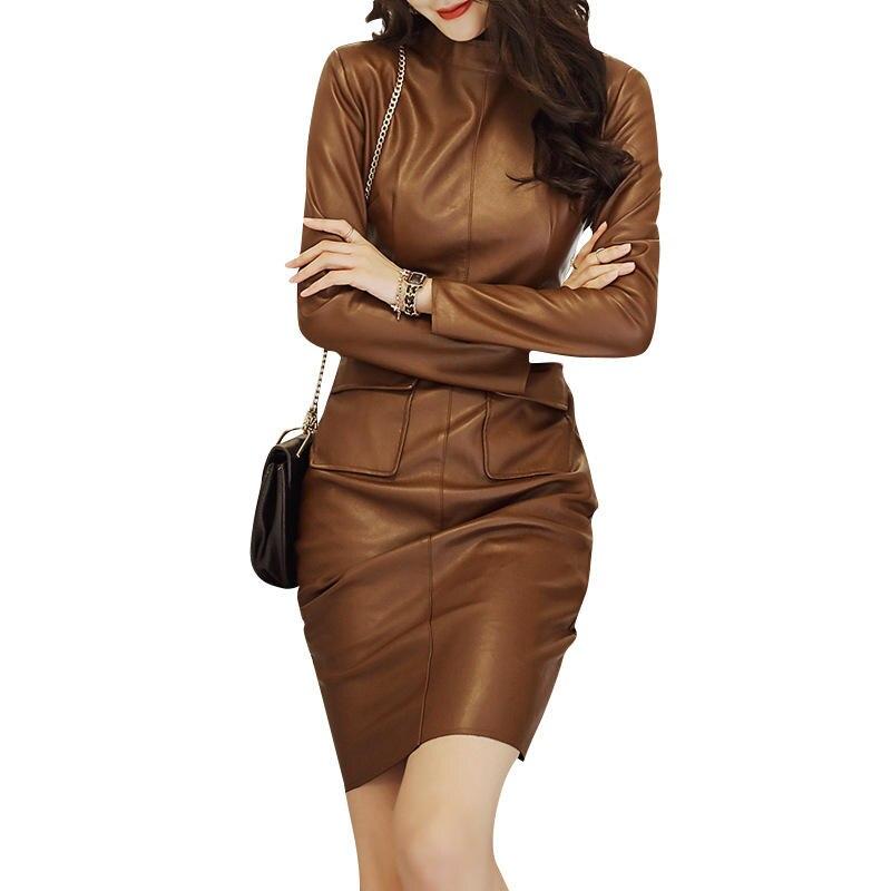 PU cuir robe femmes élégant à manches longues Slim Sexy robe femme Vestidos Casual poches noir taille haute en cuir robe Q1996