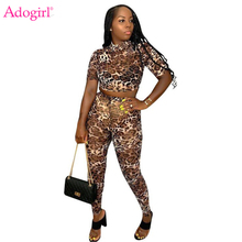 Adogirl Leopard Print Sexy Two Piece Set Women Casual Suit Mock Neck Short Sleeve Crop Top Pencil Pants Female Club Party Outfit