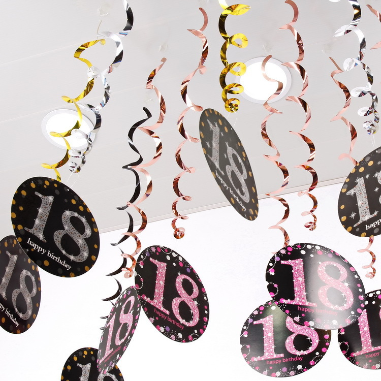 Happy 18/21/30/40/<font><b>50</b></font>/60 Birthday 6pc/pack Metallic Ceiling Hanging Swirl DIY for Baby Shower <font><b>Anniversary</b></font> Party Decoration image