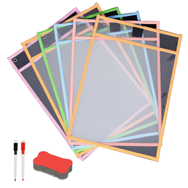 A4 Reusable Dry Erase Pockets Hard 4 Sheet Protectors, 1 Bone Shape Eraser, 2 Erase Pens For School Office Classroom