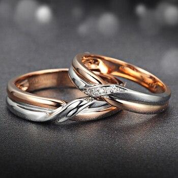 18K Two-Tone Gold Diamond Couple Ring Set Wedding Engagement Twisted Band Diamond Jewelry Engraving 3