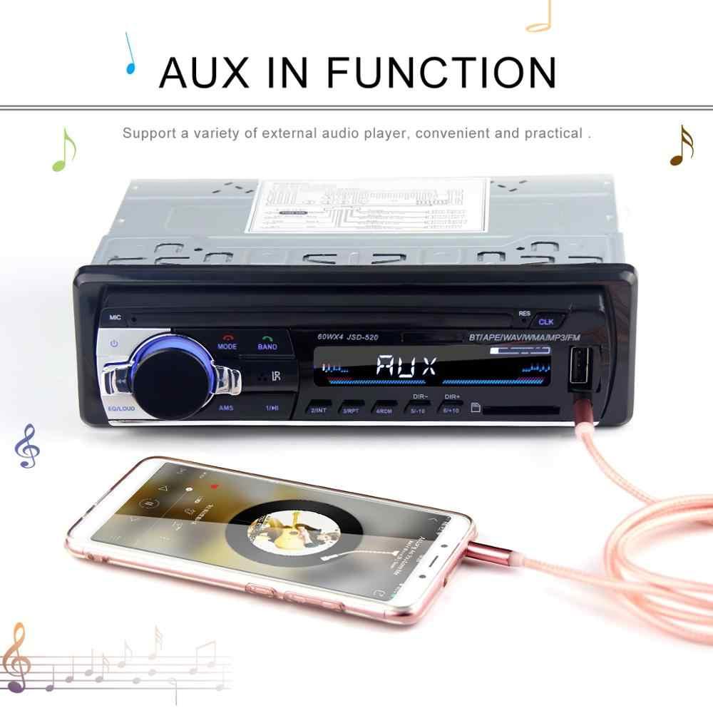 Radio samochodowe miniJSD520 12V Bluetooth samochodowe stereo w desce rozdzielczej 1 Din wejście FM Aux obsługa Mp3/MP4 USB MMC WMA AUX w TF Radio samochodowe