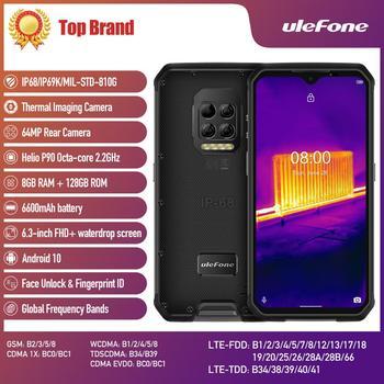 Перейти на Алиэкспресс и купить Смартфон с камерой 64 мп, 8 ГБ + 128 ГБ, мобильный телефон, термокамера, прочный телефон, Android 10, Helio P90, Восьмиядерный, 6600 мАч, Ulefone Armor 9