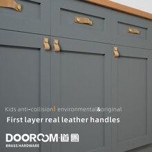 Dooroom жесткий первый слой из натуральной коровьей кожи мебельные ручки современный простой американский тянет ящика двери шкафа скандинавские ручки