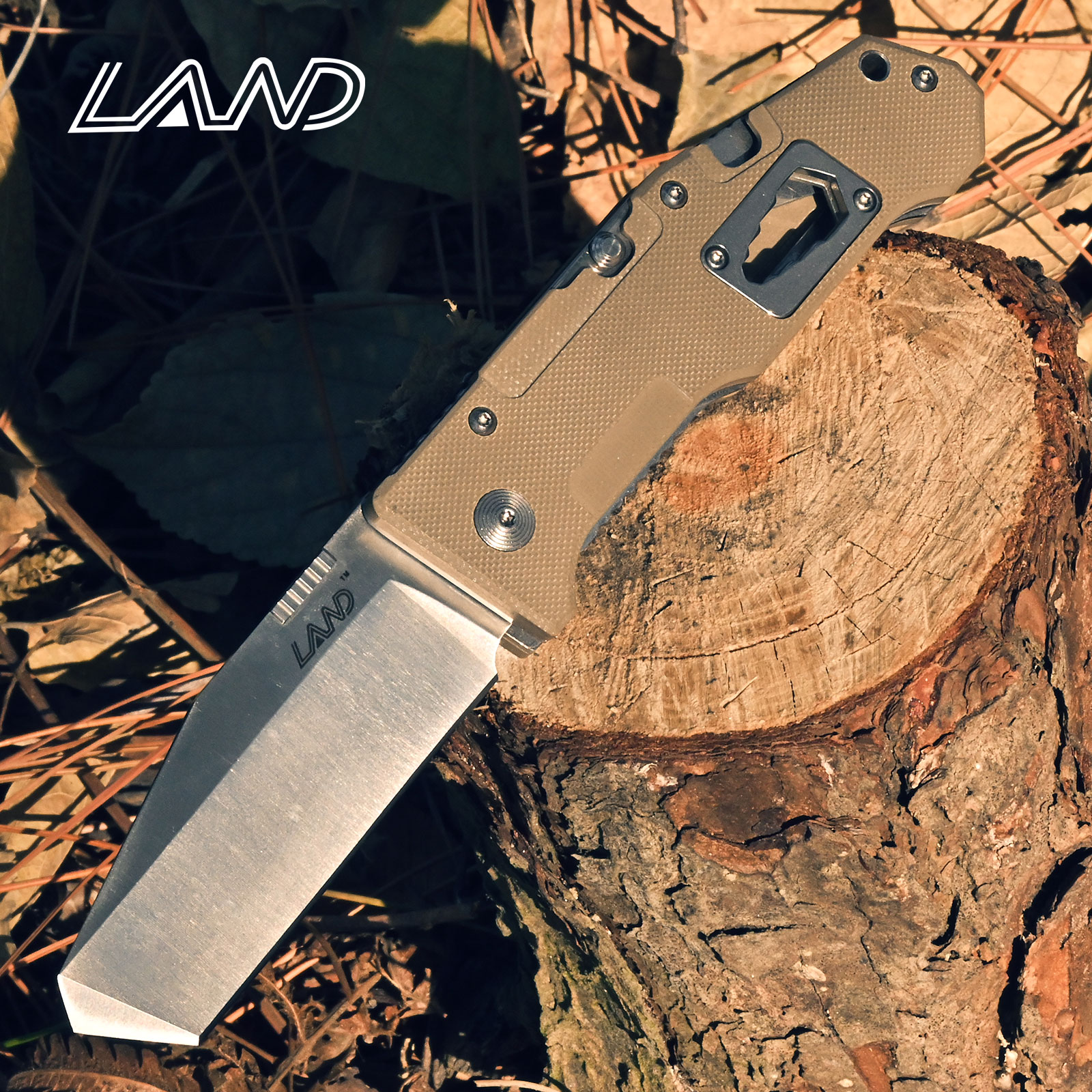 LAND 9046 Folding Multi-functional Knife Survival Camping Outdoor Folding Hunting Saw Tool Knife 12cr27mov Stainless Steel
