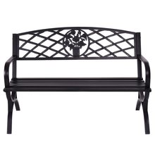 50 inch Patio Black Decent Garden Bench Steel Frame Park Courtyard Leisure Outsoor Benches Seating Set for 3 Persons OP3139(China)