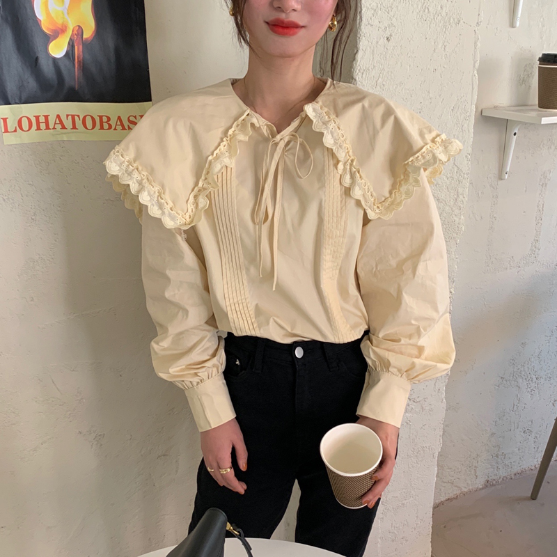 H7c11ad7ac941476180d7b7ebc127e8bc2 - Spring / Autumn Lace-Up Collar Long Sleeves Loose pleated Solid Blouse