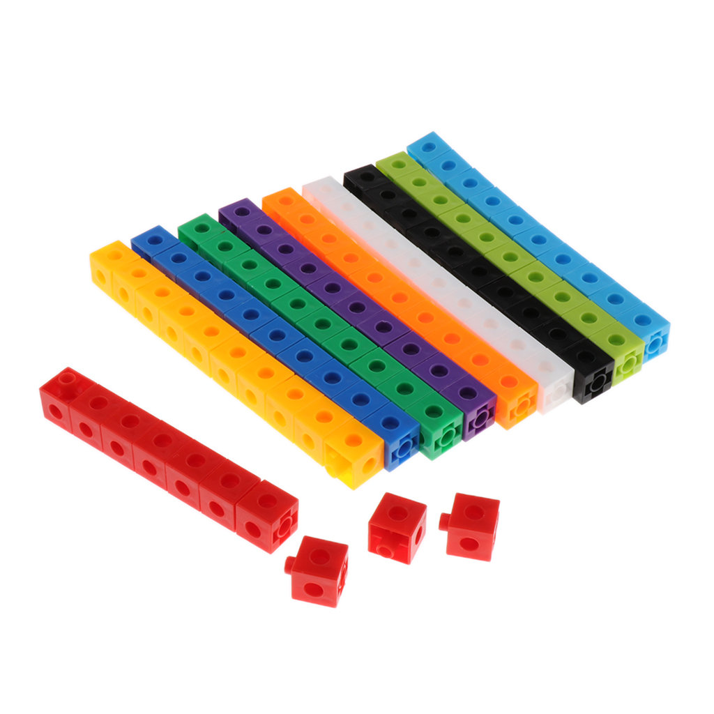 100x Early Education Multilink Counting Cubes Snap Blocks Manipulative Math Kids Connecting Blocks Toys For Construction & Math