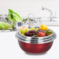 Fruit Vegetable Colander 3pcs Multifuntional Stainless Steel Kitchen Rice Fruit Vegetables Washing Basin Set Kitchen Tools