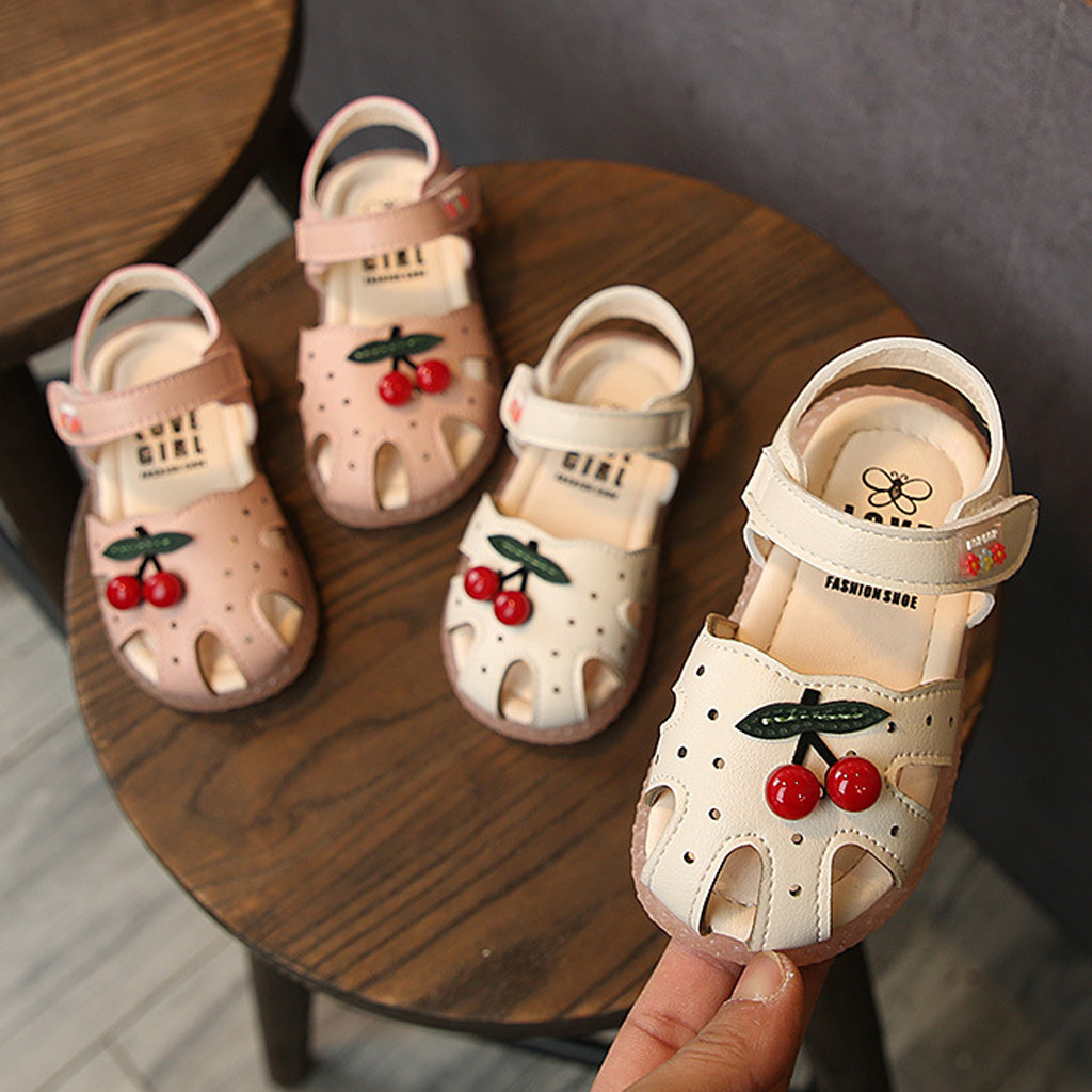 Summer Baby Sandals For Girls Toddler Infant Kids Baby Little Girls Cherry Princess Closed Toe Shoes Sandals Princess  Walkers