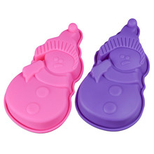 3D Silicone Cake Mold Christmas Snowman Shaped Baking Moulds For Cakes Bread Soap Ice Dessert Bakeware Decorating Tools