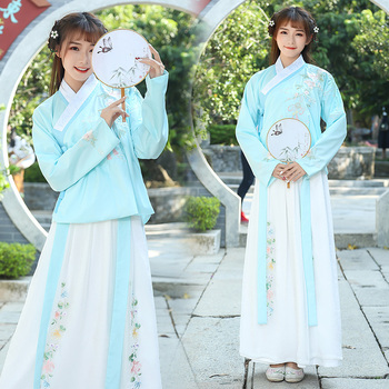 Chinese Traditional Hanfu Costume Ancient Han Dynasty Stage Show Dress Chinese National Folk Dance Outfit Tang Dynasty DN4131