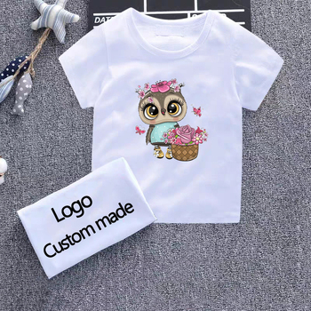Owl Print Girls T Shirt Children Clothing Boys Cotton Baby Short Sleeve T-shirts Kids Boy Girl Casual Cute T-shirt 2-8Y Shirts