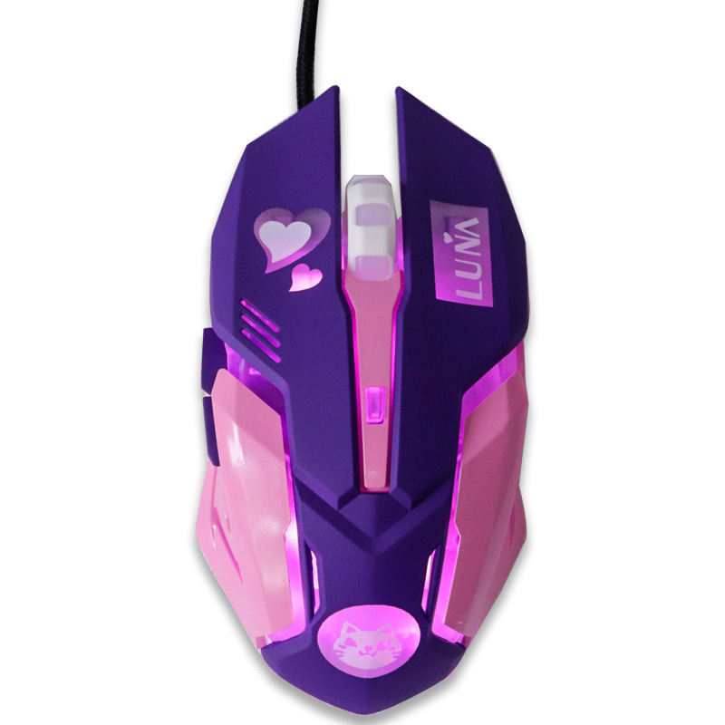 USB Wired Gaming Mouse Pink Computer Professional E-sports Mouse 2400 DPI Colorful Backlit Silent Mouse for Lol Data Laptop Pc 2