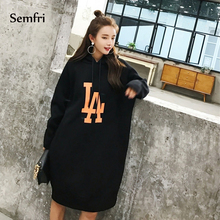 Semfri Sweatshirt Women Oversized Harajuku Hoodies Long Loose Autumn Winter 2019 Casual Print Floral Hoodies