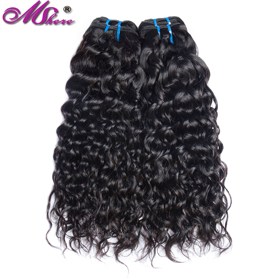 Mshere Peruvian Water Wave Human Hair Extensions Non-Remy Hair Weave Bundles Black Natural 3/4 Pieces Can Be Dyed / Discolor