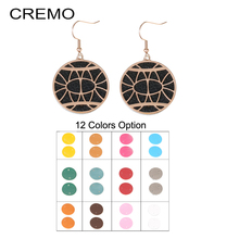 Cremo Interchangeable Leather drop earrings Hanging Dangle Earrings Jewelry Stainless Steel Round Pendant Charm Earring