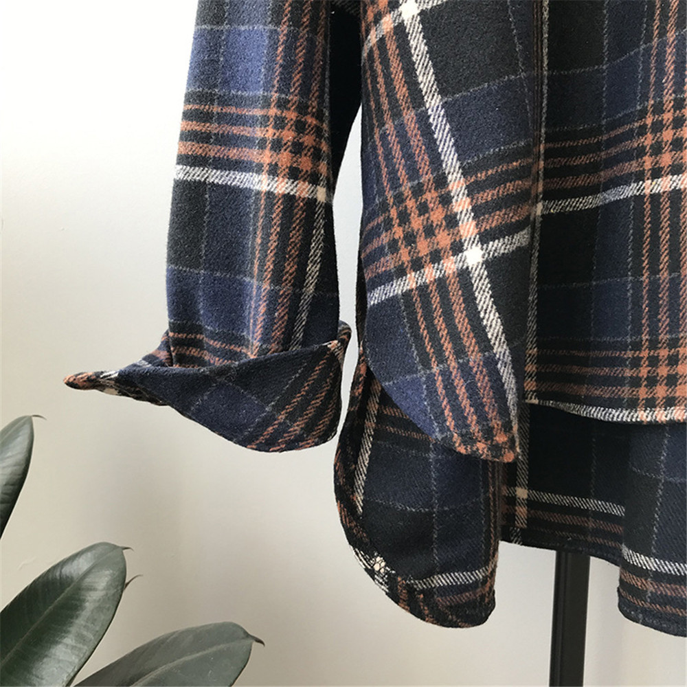 Spring Thick Loose cotton plaid Women blouses shirt 2020 female long sleeve Casual Warm women Blouse shirt office lady top Y0675 (25)