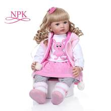 NPK 60cm Silicone Reborn Baby Doll with Long blond curly hair Princess Toddler Babies Dolls Alive Birthday Gift Play House Toy